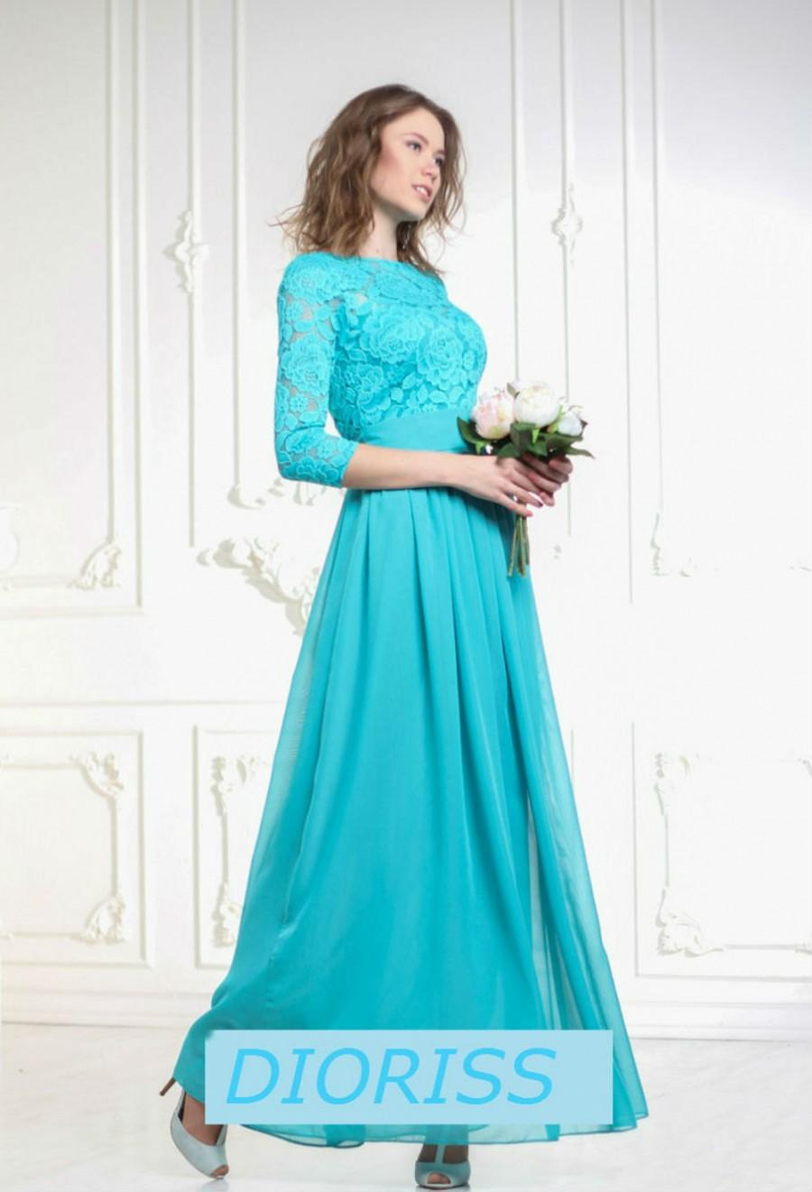 Turquoise Blue Bridesmaid Maxi Dress Chiffon Wedding Formal Evening Lace