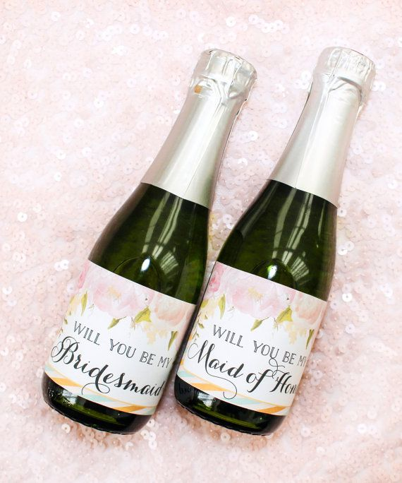 Will You Be My Bridesmaid Mini Champagne Bottle Labels Diy Digital File Printable Proposal Gift