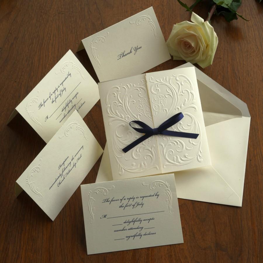 Blind Embossed Wedding Invitation Set Raised Thermography Invite Clic Custom Av1172