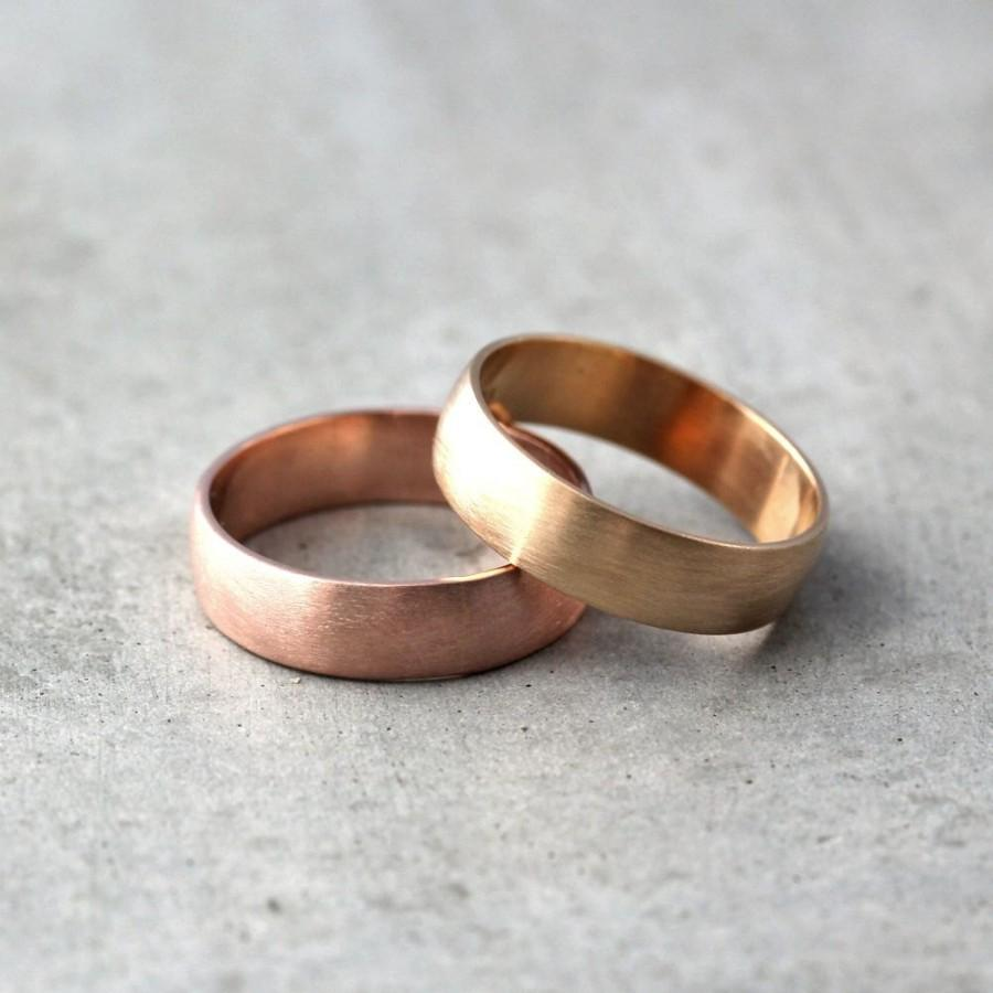 Wide Gold Men S Wedding Band Set Of Recycled 14k Rose Or Yellow 6mm Brushed Commitment Rings His And Made In Your Sizes