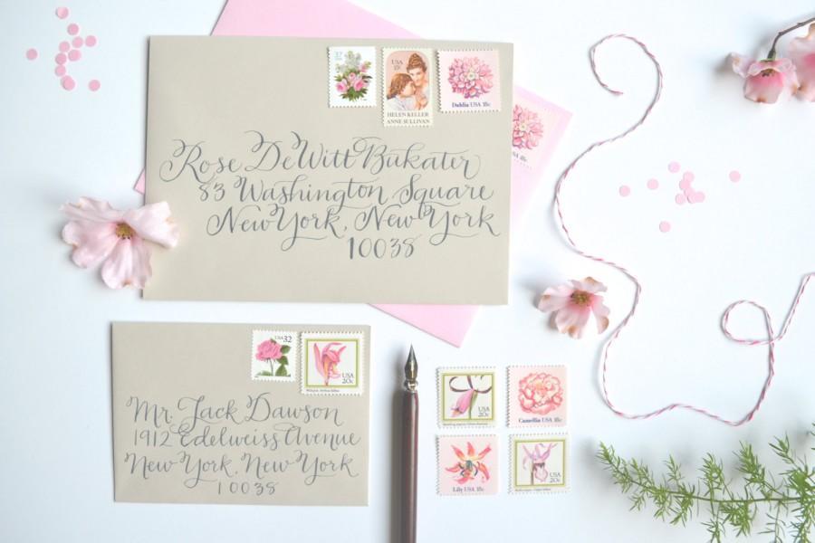 Pink Wedding Stamps Vintage Postage Stamp Flower Suite For Mailing Invitations