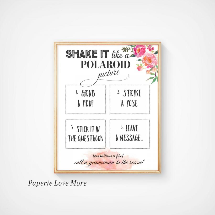 Wedding Photo Booth Sign Shake It Like A Polaroid Picture Guestbook