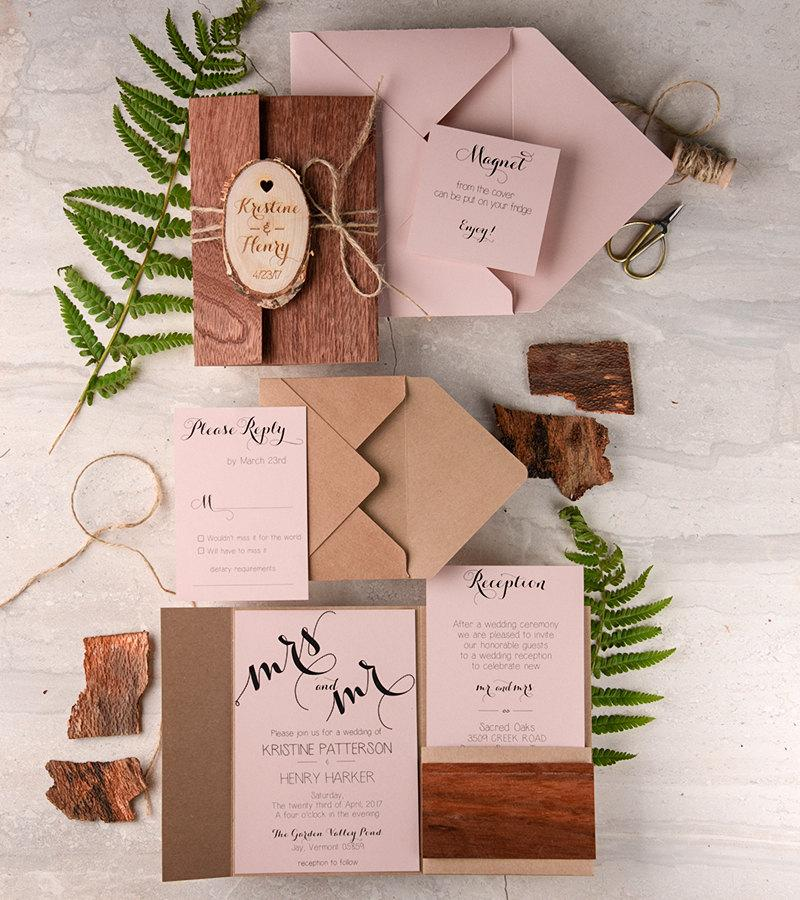 Rustic Wedding Invitation 20 Real Wood Cherry Engraved Slice Wooden Invites Pink