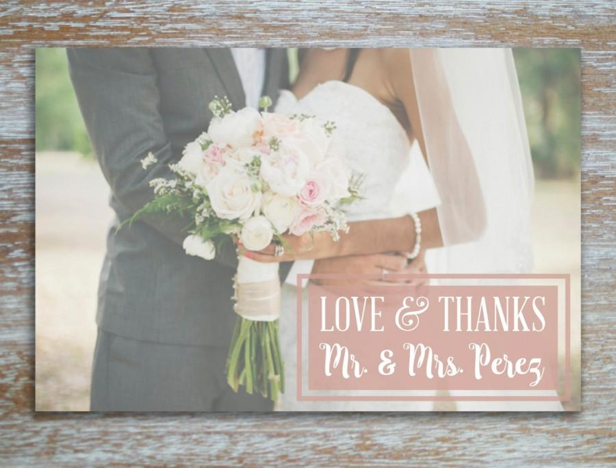 Boho Rustic Vintage Rose Pink Wedding Thank You Card Photo Postcard