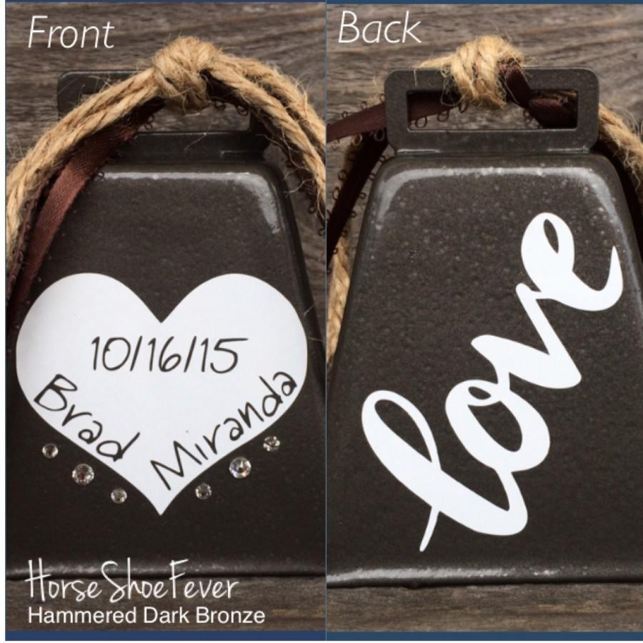 Wedding Bells Personalized Cowbell Rustic Cake Topper Gift Kissing Bell Country Western Home Decor