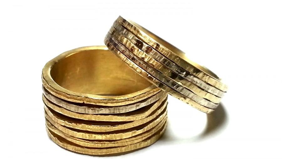 Wedding Ring Set Unique His And Hers Bands Promise Rings Gold Jewelry Mixed Metal Bimetal For Her Him