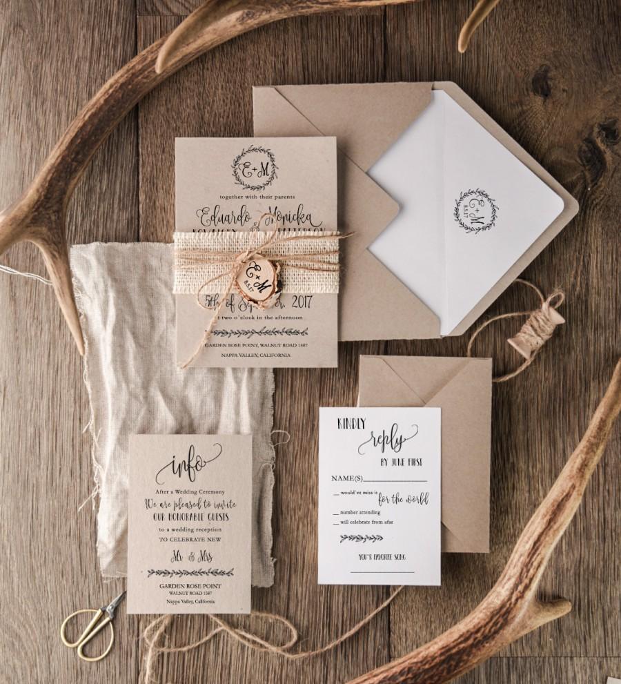 Rustic Wedding Invitation Set 20 Craft Suite Burlap Wooden Slice Invitations Monogram Invites