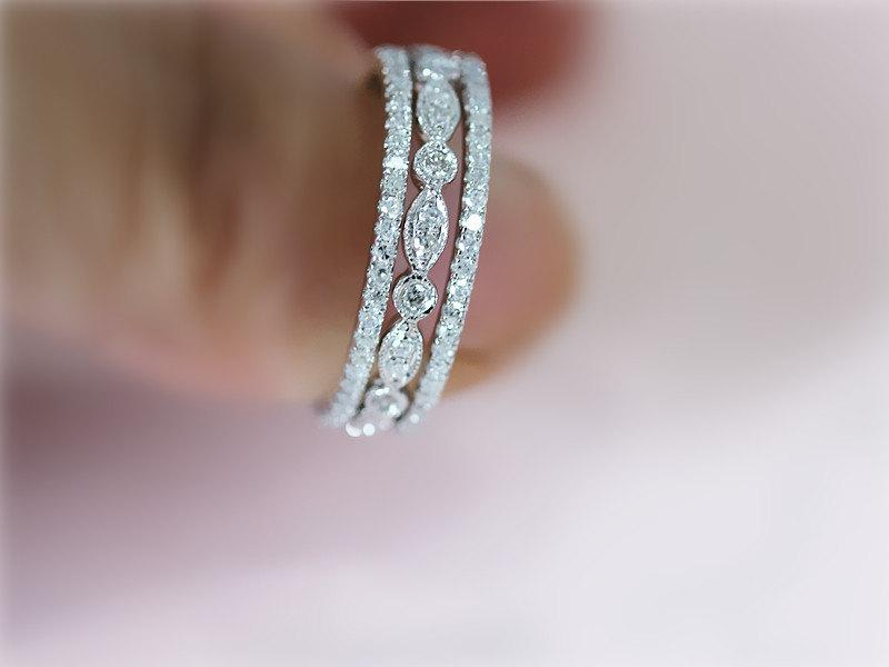 3 Ring Set 14k White Gold Wedding Band With Matching Half Eternity Engagement