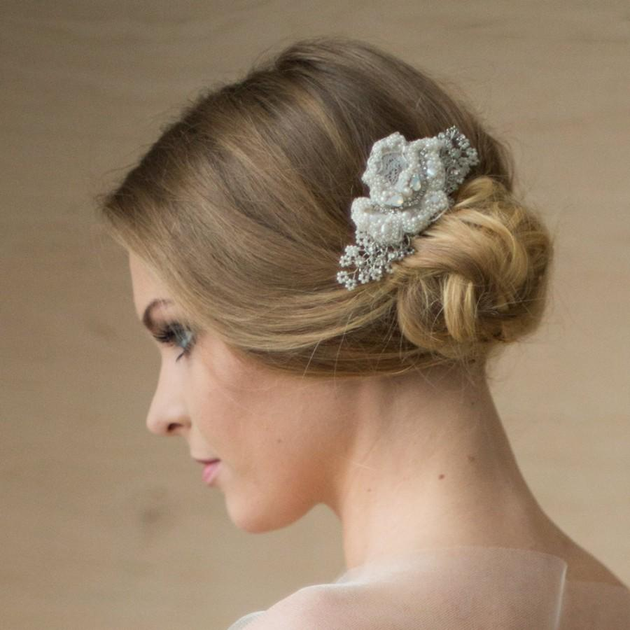 bridal hair piece, lace hair piece, wedding headpiece, bridal hair