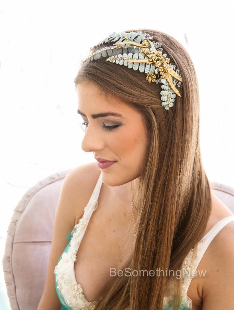 rustic gold and aqua blue wedding hair comb vintage look wedding