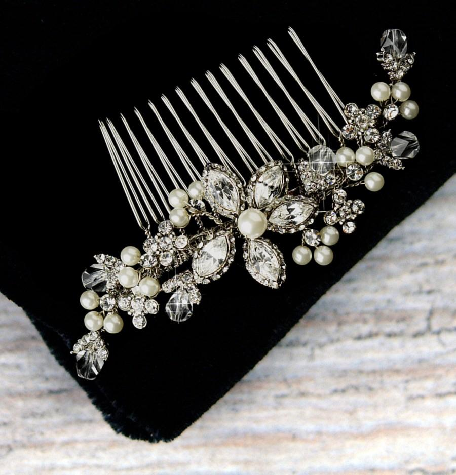 vintage style pearl and crystal hair comb, pearl bridal hair comb