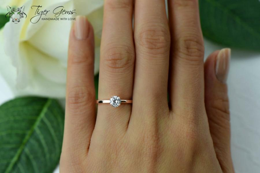 1 2 Ct Solitaire Engagement Ring Man Made Diamond Simulant Wedding Bridal Promise Sterling Silver Rose Gold Plated
