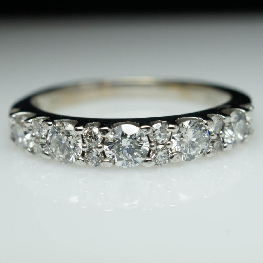 Vintage Diamond Wedding Band Ring 14k White Gold Size 6 81cttw Natural Anniversary