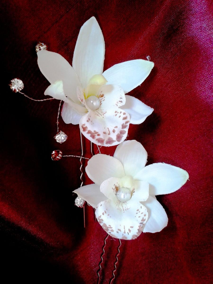 tropical hair flower, hawaiian white orchid, tropical hair clip