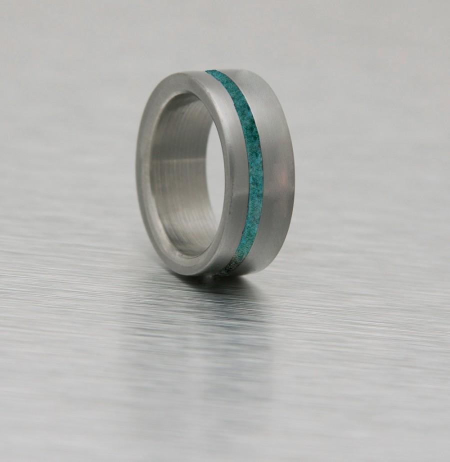 Anium Ring Turquoise Man Mens Wedding Band