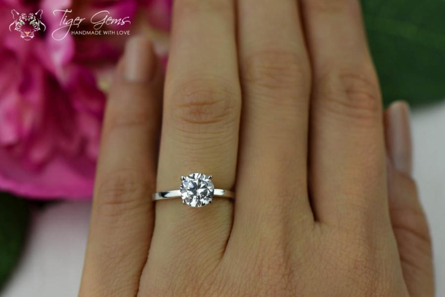 1 5 Carat Clic Engagement Ring Man Made Diamond Simulant Wedding 4 G Solitaire Promise Sterling Silver