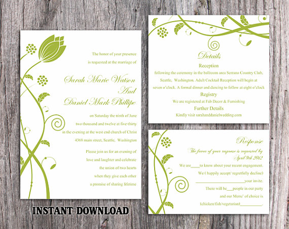 diy wedding invitations templates diy wedding invitation template set editable word file 3621