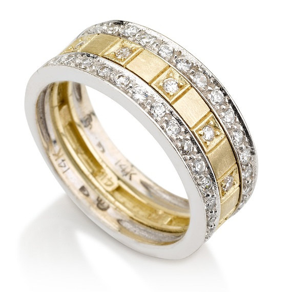 Wedding Band 14k White And Yellow Gold Ring Diamond Ring