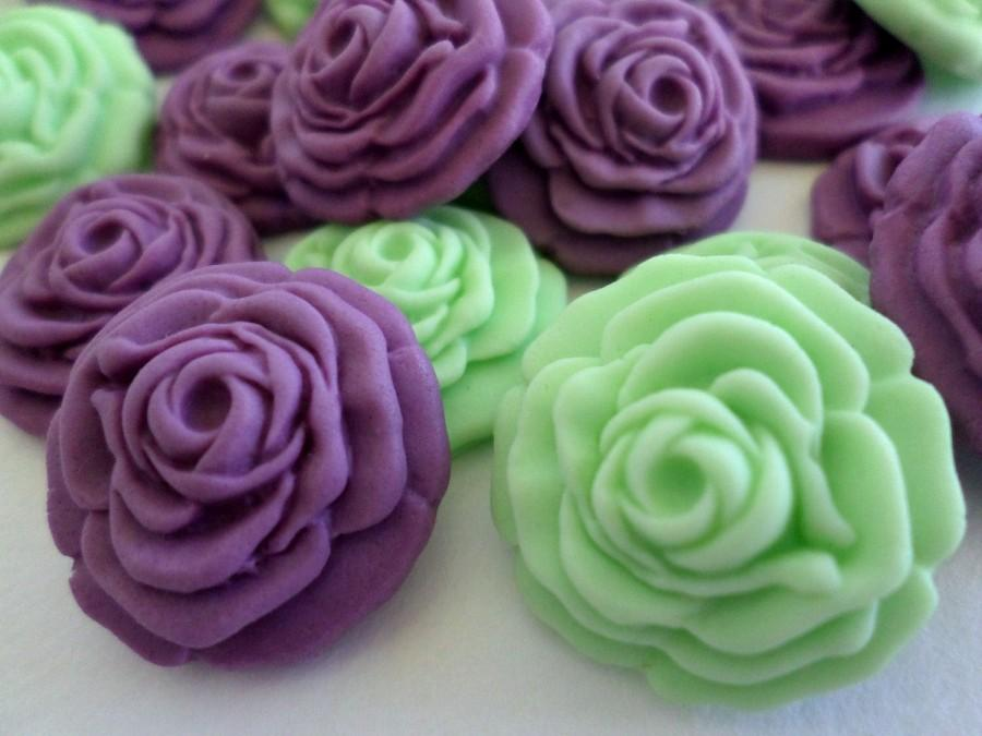 Edible Sugar Flower Fondant Rose Cake Cupcake Topper Gumpaste Wedding Candy Favor Mint Green Purple Party Decor Baby Bridal Shower Set 36