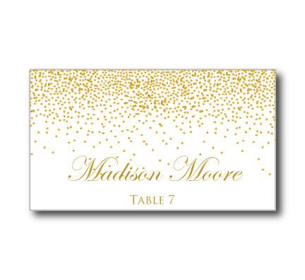 Printable Wedding Place Cards Gold Sparkles Diy Instant Microsoft Word