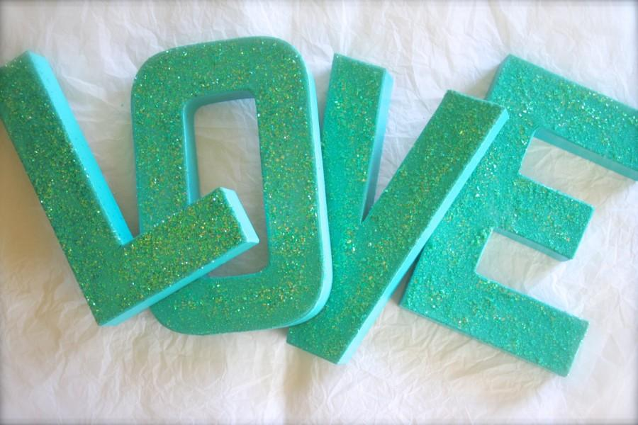 Aqua Blue Glittered Letters Or Numbers Wedding Bridal Shower Home Decor Any Colors
