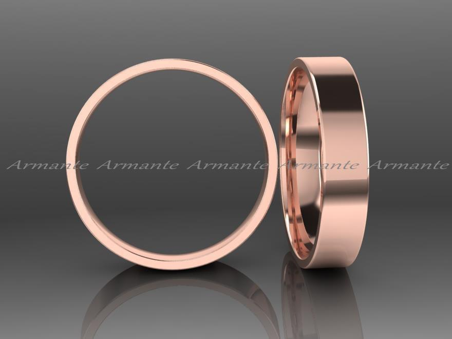 Rose Gold Wedding Band Hand Crafted 4 00mm Wide 14k Solid His And Hers Ring