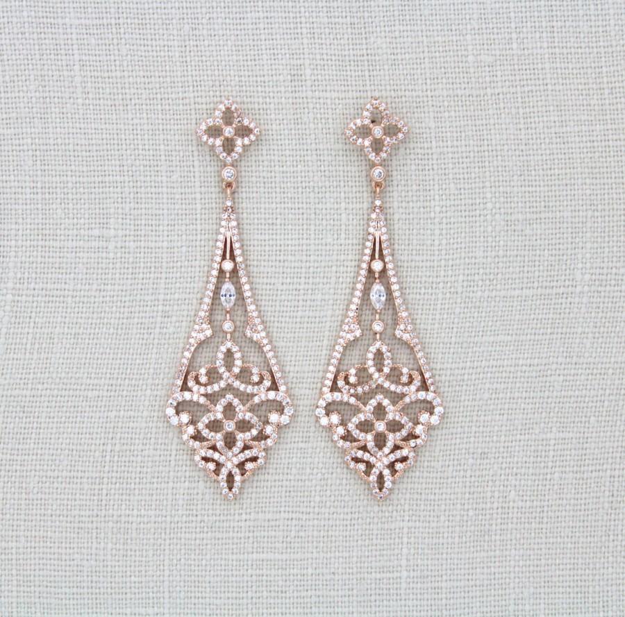Rose Gold Art Deco Earrings Chandelier Swarovski Bridal Crystal Wedding Jewelry Vintage