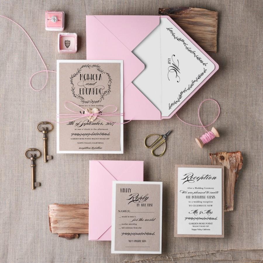 Wedding Invitation Suite 20 Rustic Pink