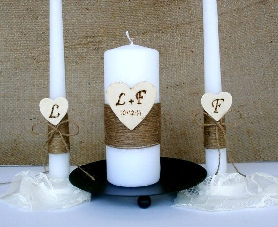 Unity Candle Rustic Set Personalized Candles Ceremony Heart