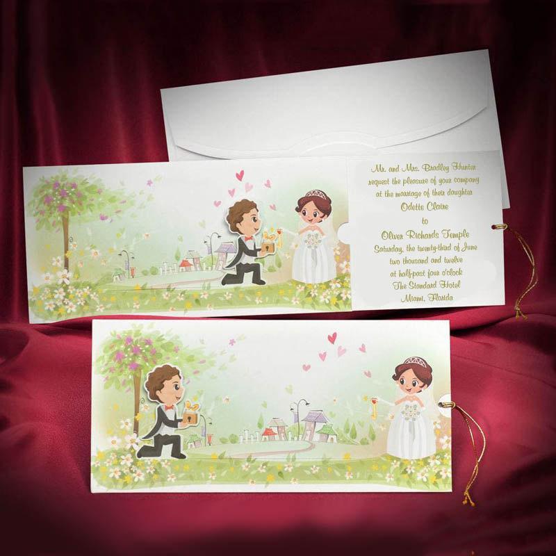 Funny Wedding Invitation Card Custom Personalized Green Colorful Invitations Unique Original Creative Invites