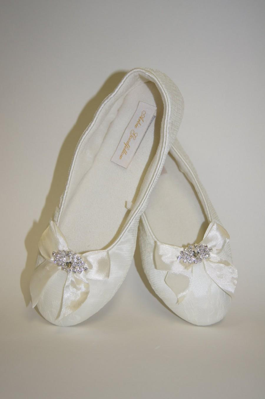 Flat Lace Wedding Shoes Choose From White Or Ivory Flatshoes Ribbons And Crystals Comfortable Parisxox