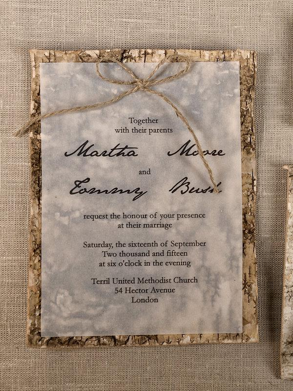 Custom Listing 20 Natural Birch Bark Wedding Invitation County Style Invitations Wood Rustic