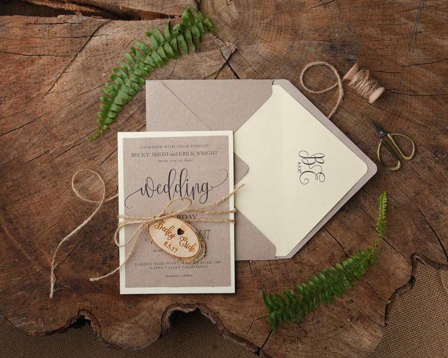 Rustic Wedding Invitations 20 Engraved Invitation Suite Invites Elegant Set Simple