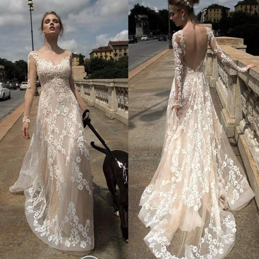 2016 Full Lace Y Backless Illusion Wedding Dresses A Line Fashion Bridal Ball Gowns Open Back With Long Sleeves Robe De Marriage Online