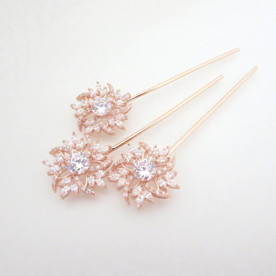 rose gold hair pin, bridal hair pins, rose gold wedding hair pins
