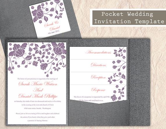 Pocket Wedding Invitation Template Set Diy Editable Word File Fl Eggplant Invitations Printable
