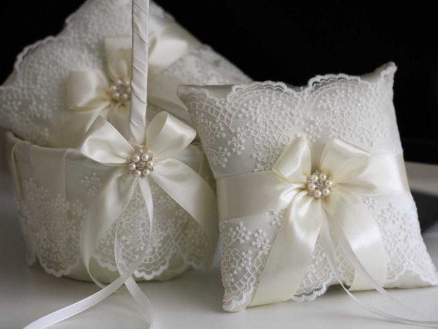 Ivory Lace Wedding Pillow Basket Accessories Set Flower And Ring Bearer Beige