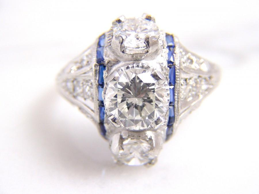 Clearance Price Platinum Antique Art Deco Diamond Engagement Ring Vintage Estate Wedding Comes W Raisal