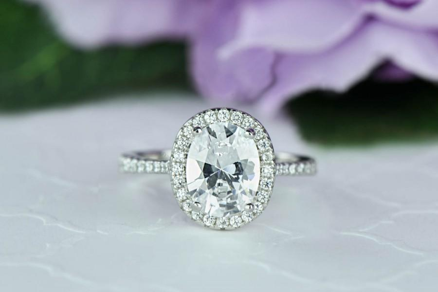 2 25 Ctw Clic Oval Halo Ring Engagement Man Made Diamond Simulants Wedding Bridal Promise Sterling Silver