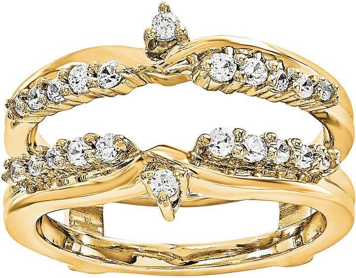 MODERN BRIDE 1 3 CT T W Diamond 14K Yellow Gold Ring Guard