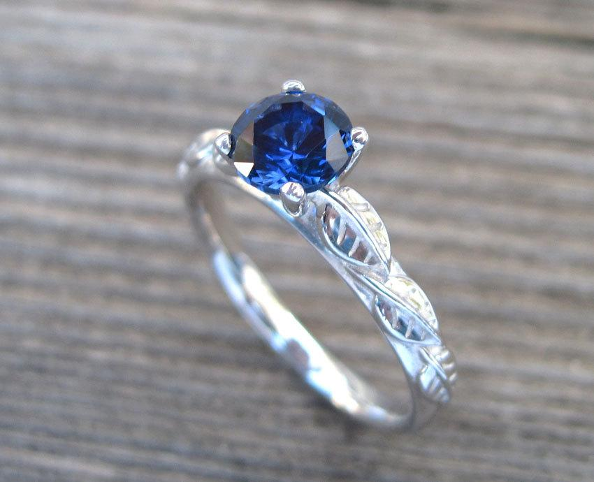 Shire Engagement Ring Leaves Antique Leaf Blue Stone