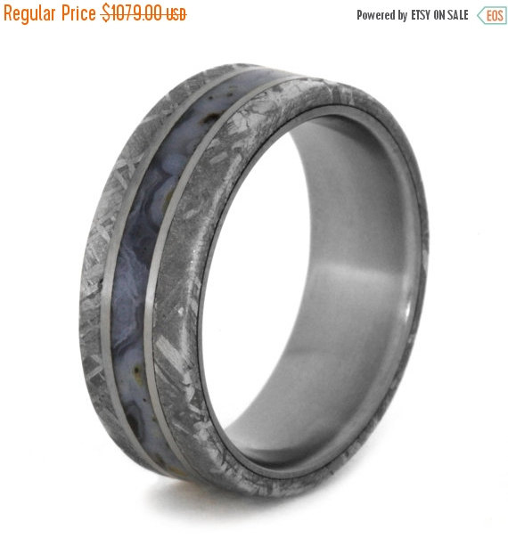 Wedding Dinosaur Bone Band For Women Or Men With Meteorite Edges Separated By Two Anium Pinstripes