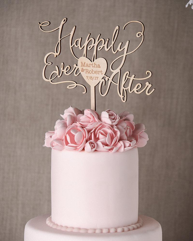 Wedding Gold Cake Topper Rustic Engraved Wooden Cale