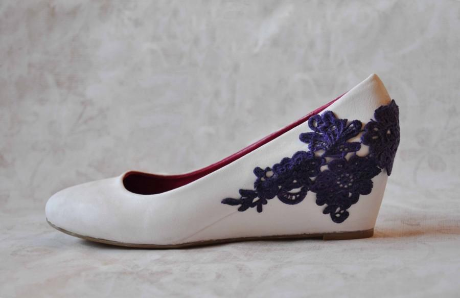 Wedding Wedges Wedge Shoes Low Heels With Violet Venise Lace Lique White Bridal