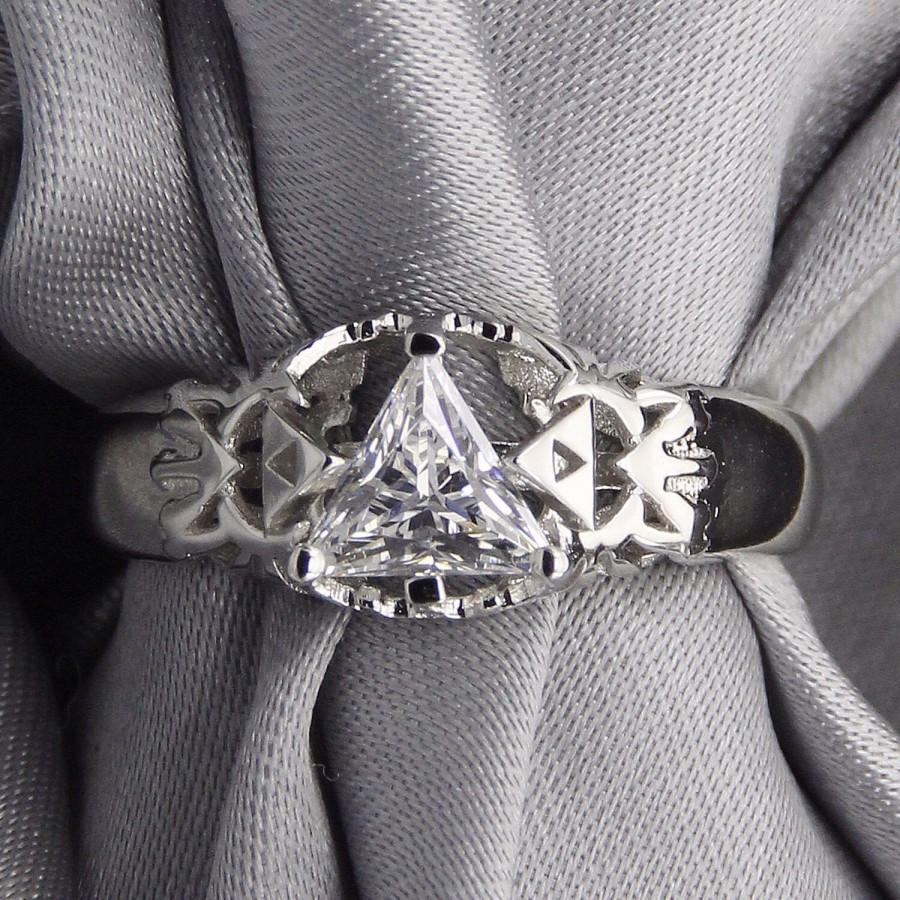 video game wedding rings triangle legend of triforce hyrule crest 8266