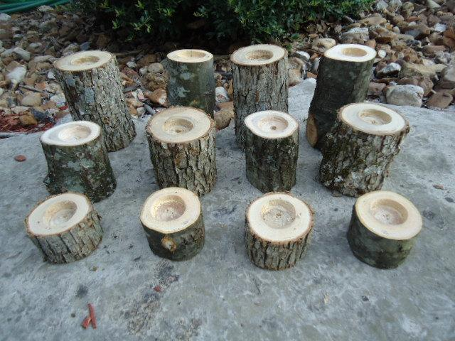 12 Rustic Tree Candle Holders Sticks For Votive Candles Weddings Cabins Decoration Decor Natural Branch
