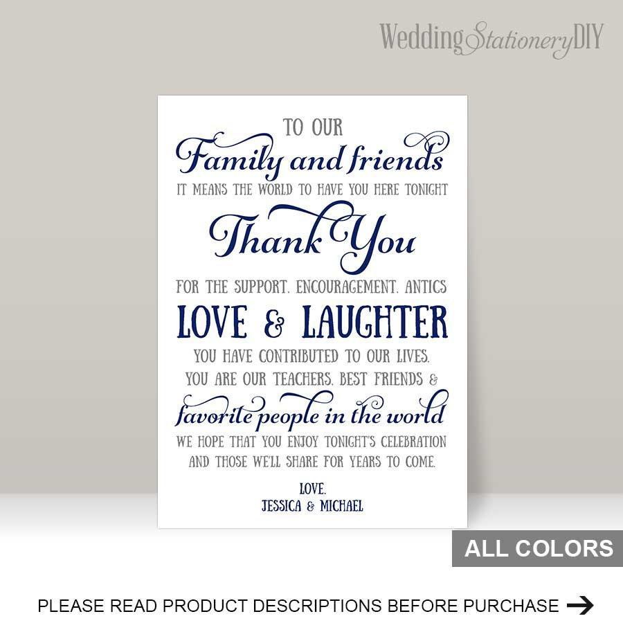 Navy Wedding Reception Thank You Card Templates