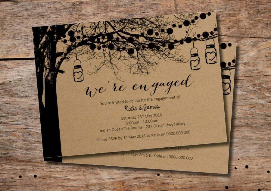 Custom Printable Engagement Party Invitation Vintage Tree Design