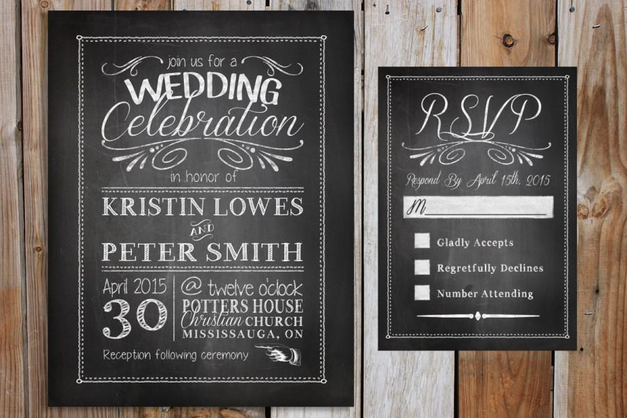 Chalkboard Wedding Invitation Invitations Black And White Professional Printing Sample Or Digital File
