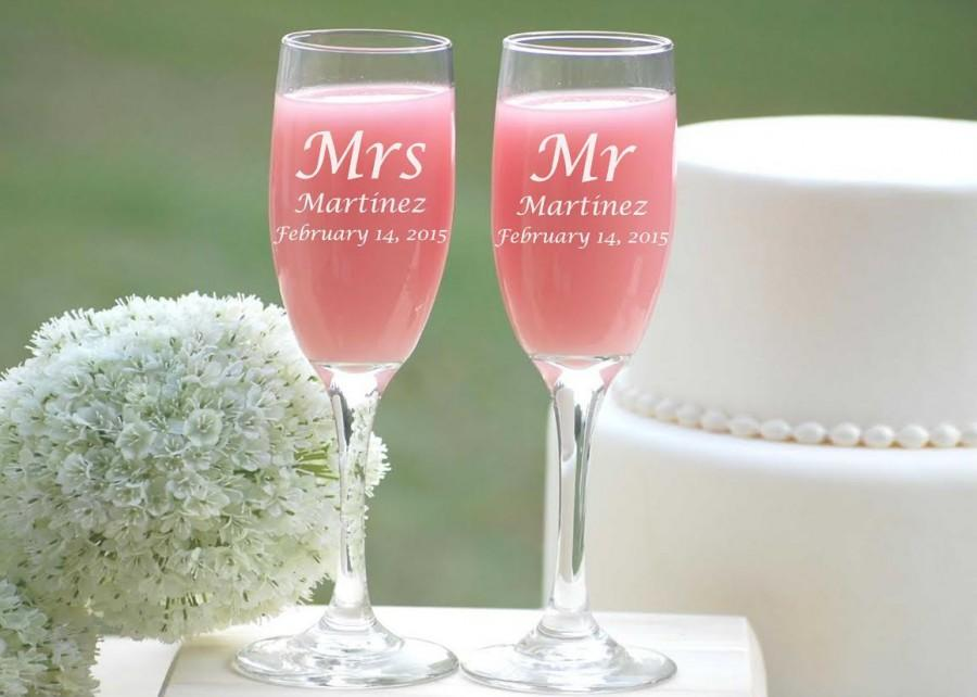 Personalized Champagne Gles Custom Engraved Flutes Mr And Mrs Wedding Toasting Bride Groom